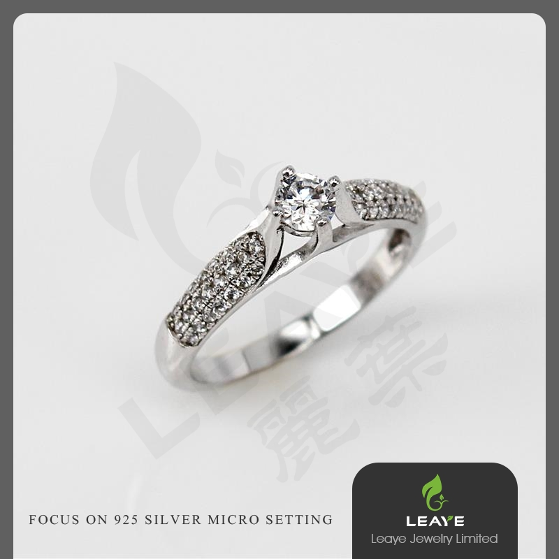 Thailand Ring Wide Band Pave Diamond One CZ Silver Plated Ring