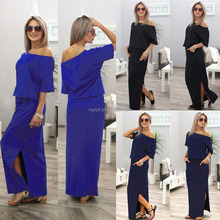 G00500 UK Womens One Shoulder Summer Split Long Maxi Ladies Party Beach Casual Dress