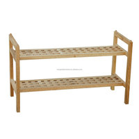 griding stackable solid wood 2 tier walnut shoe shelf