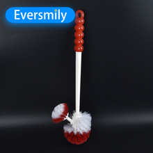 Portable Double Sided Toilet Brush Plastic Bathroom Cleaning Brush Long Handle Wholesale