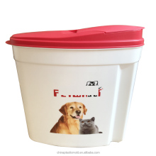 Airtight oval shaped dog food storage 10 liter plastic container