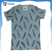 100% feather cotton roll sleeve t-shirt for man