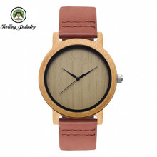 Genuine leather wooden bamboo wrist watcheshigh quality quartz best gift itemshandmade fashion luxury watch with logo