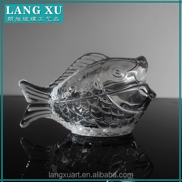 LX-T046 handmade crystal fish shape animal-shaped glass jar for cookie candy food storage