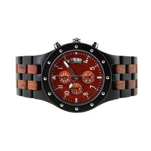 luxury calender function wooden water proof odm watch chronograph