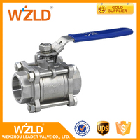 WZLD Light Weight API 608 NPS 3/8~3 3-PC NPT Ends Stainless Steel 316 Mini Ball Valve