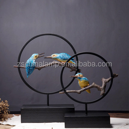 Art Craft Metal Bird Sculpture WIth Black Anf Blue Color Stand For Furniture Antique
