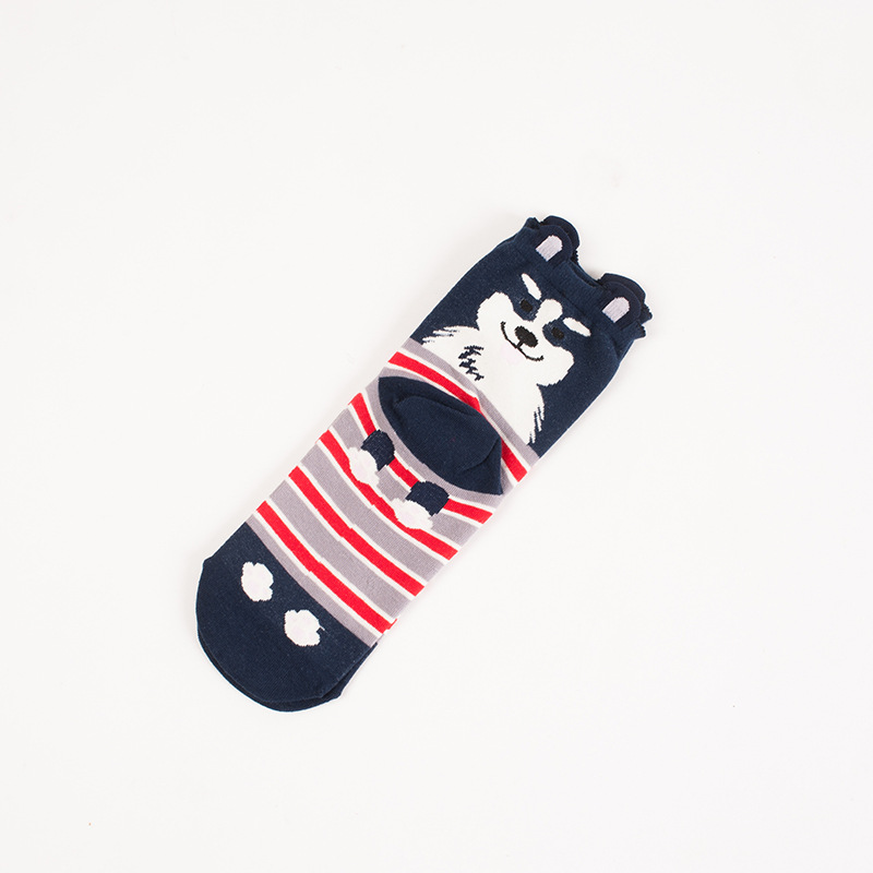 Amazon hot selling Cute Cartoon Puppy design Tube Socks Dog And Dot Pattern Cosy spring Cotton Girls Custom Dogs designs socks