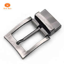 new goods Casual style 35mm brushed nickel custom metal alloy turning pin buckle with clip for reversible belts