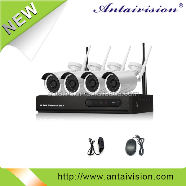 cctv security wireless ip camera h.264 4CH 720p ahd wireless nvr kits