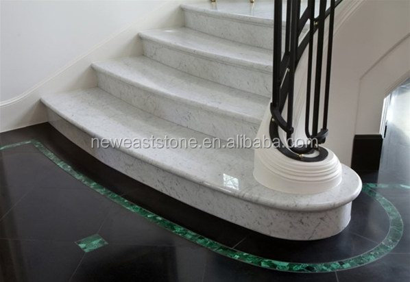 modern anti-slip metal italy carrara marble stairs nosings
