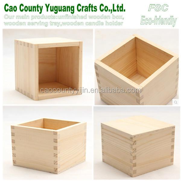 Pine Wooden Cube Box,Mini Wood Box,Wooden Toy Box - Buy ...