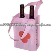 Pink color, Printable, two bottles, Non woven wine bag
