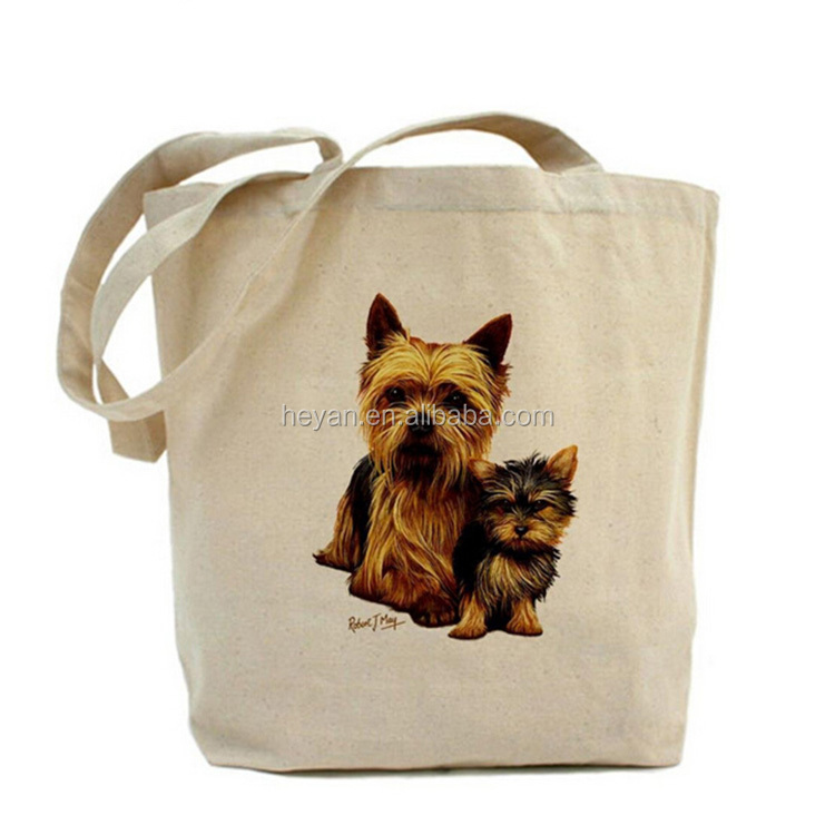 Custom wholesale dog animal printed cotton shopping tote bags