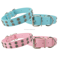 "1.3"" Wide 2 Rows Metal Flowers Studded Blue Pink Leather Dog Collar"