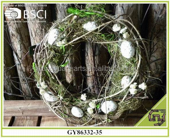 Easter egg surrounded wild rattan twig wreath