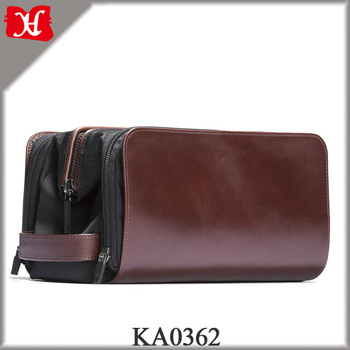2018 High Quality Men's Leather Nylon Wash Bag Functional Travel Dopp Kit