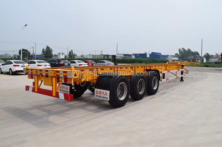 Tri-axle 20ft 40ft Chassis Skeleton Container Transport Semi Trailer