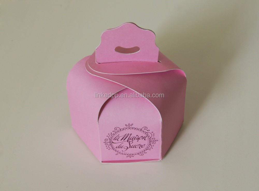 Fancy Novelty Cup Cake Box With die-cut hanger