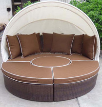 UV resistant outdoor garden sofa bed KD poly rattan wicker round sunbed with canopy
