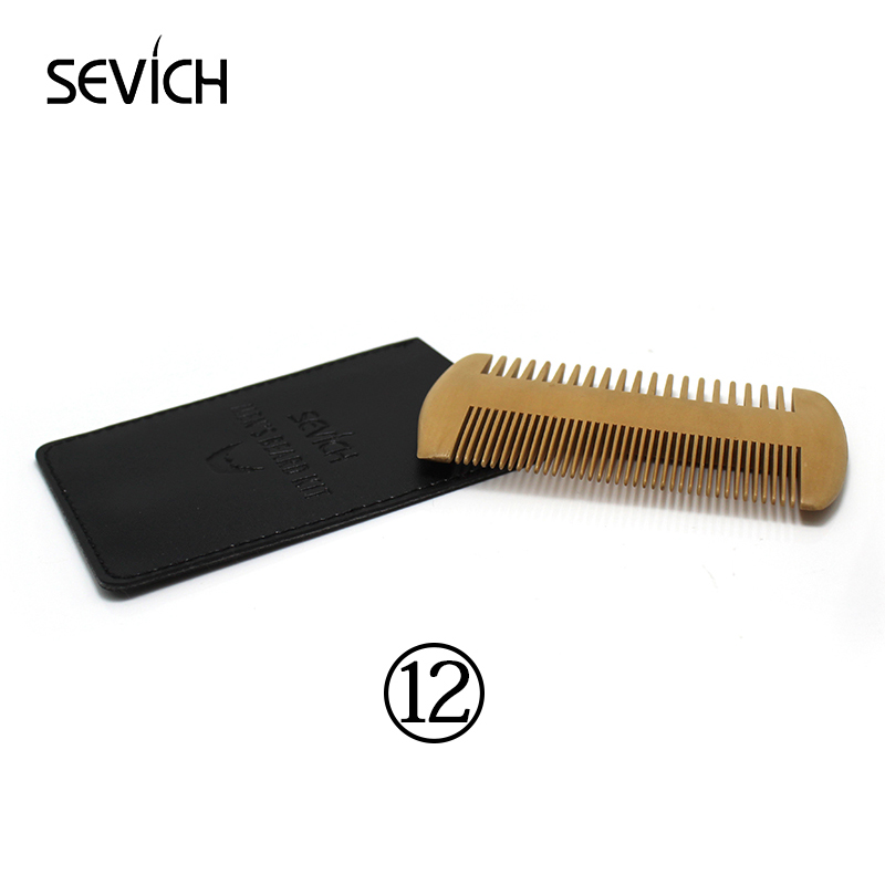 Natural Double Side Wooden Comb Grooming Kit for Hair and Beard Tidy