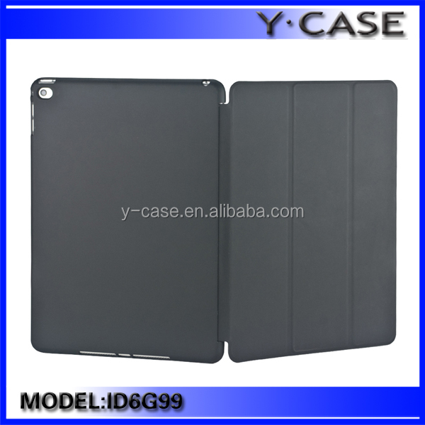 Super Slim PU Smart Cover Front with Hard Rubberized Back Case for Apple ipad Air 2 / ipad 6