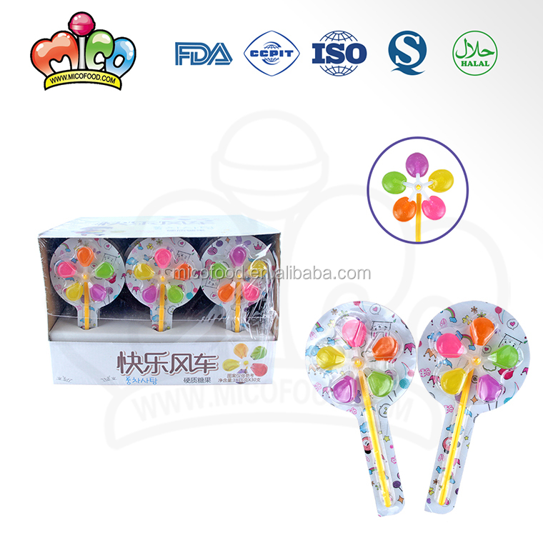 5 colors windmill shaped lollipop candy