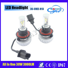 2016 New promotion LED car headlight bulb H8 H9 H11 H13 30W High Power 3S car Led Headlight