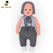Kids Gift Newborn Doll American Girl Smoky Grey Knitting Wool Pants Matching Hat Winter Doll Clothes Set