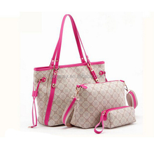 Latest three-pieces fashion pu woman handbag of beautiful looking and excellent quality wholesale with enough stock