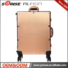 BSCI & CE certificate Moveable Train Aluminum Makeup Case with Light and Wheels