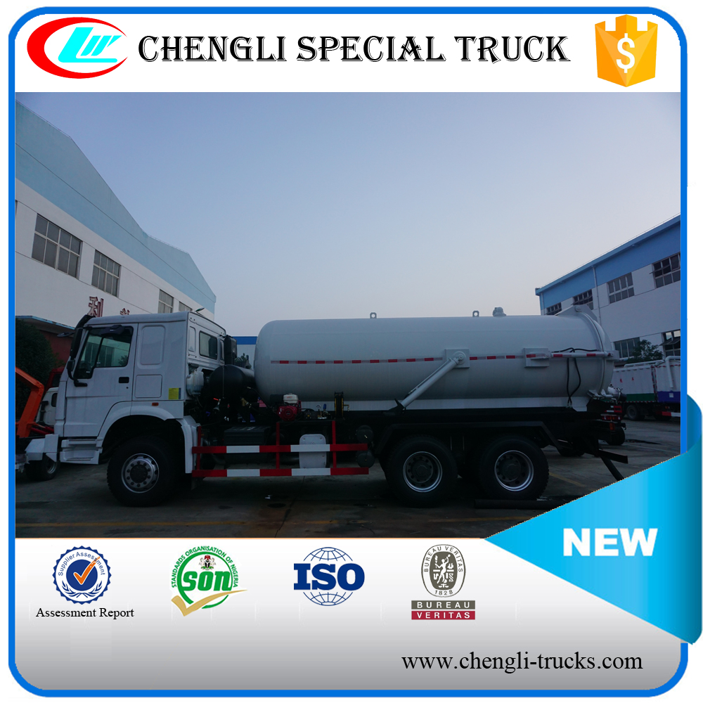 HOWO 6*4 16000L 280hp Double Pump Sewage Suction Tank Truck Vacuum Sewer Cleaner