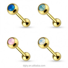Gold PVD opal tongue barbell rings KaiYu Jewelry