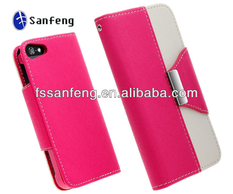 Leather Phone Case For Iphone 5 With Belt Clip/Washable Wallet Leather Case For Iphone 5/Cellular Flip Cover For Iphone 5
