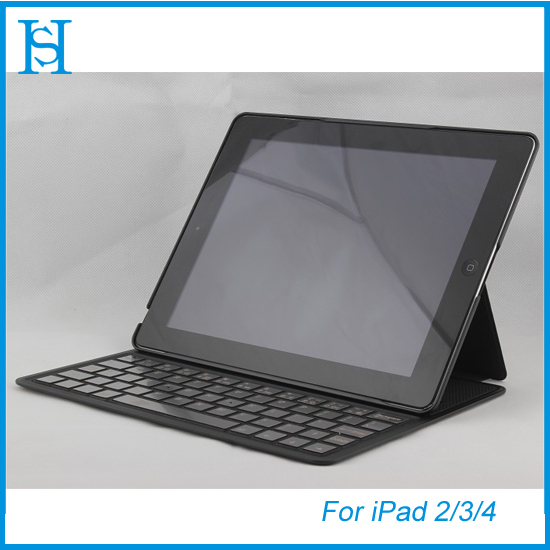 Flip leather cover wireless blue tooth keyboard for ipad 2/3/4