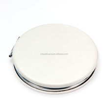 Metal Standing Makeup Mirror Small Round Mirror PU Leather Cosmetic Mirror HQPUM6061
