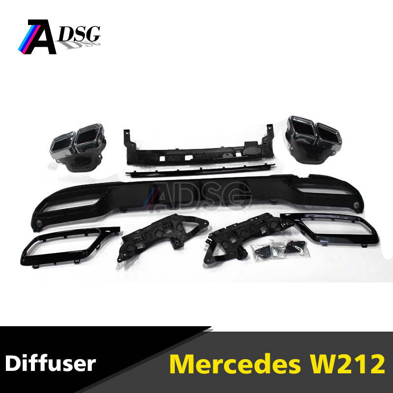 W212 rear bumper PP diffuser with exhaust tips for mercedes E class 2014 - 2016 AMG Line model