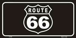 US Route 66 Shield Black Novelty Wholesale Metal License Plate Tag Sign
