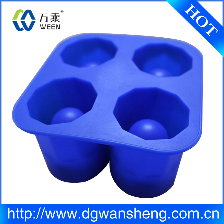 Ice Shot Glass Mold/Custom FDA&LFGB four cups silicone cup shape ice cube tray