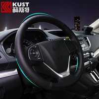 KUST Anti-slip Car Steering wheel Cover For Honda For CRV Interior Accessories Genuine Leather Steering Covers 40ft For CRV 2015