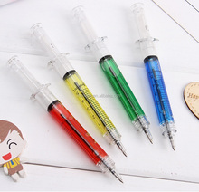Creative novelty syringe pen peculiar shape lovely stationery automatic refillable ballpen bullet 5mm making machine