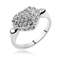 Fashion Love Charm Big Pave Setting Crystal Rings For Lovers Gift