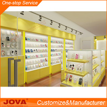 Modern custom retail mobile phone shop interior design and decoration with glass store mobile phone display showcase