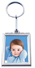 chorme picture frame key chain, metal photo frame keyring