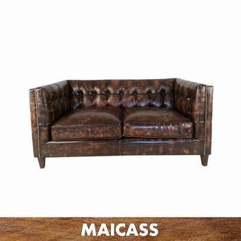 Maicass Vintage Sofa Genuine Leather 2 seater tufted botton sofa