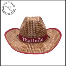 summer hollow straw panama hat with customize logo ribbon