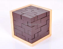 Wooden Intelligence Game 3D Wood Brain Teaser Magic Tetris Cube Game IQ Puzzle