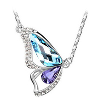 Nice Alloy Multiple Colors Stone Crystal Flying Butterfly Chain Necklace For Women