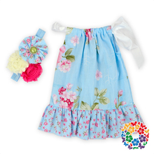 "Cute Cheap 18"" Doll Dress Floral Cotton Fabric Doll Clothes 18 Inch With Match Headband American Girl Wholesale Doll Clothes"