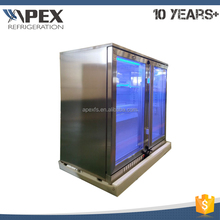 Hot selling commercial transparent double glass door mini back bar coolers fridge